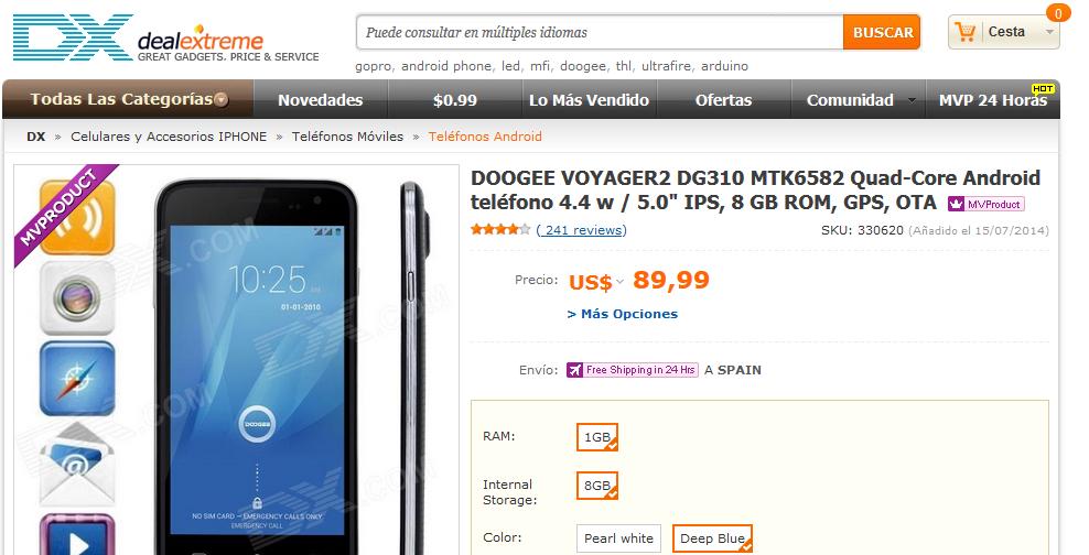 DOOGEE VOYAGER2 DG310 MTK6582 Quad-Core