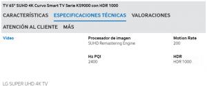 ks9000 200 hz reales y en la carteleria marca ¡2400!